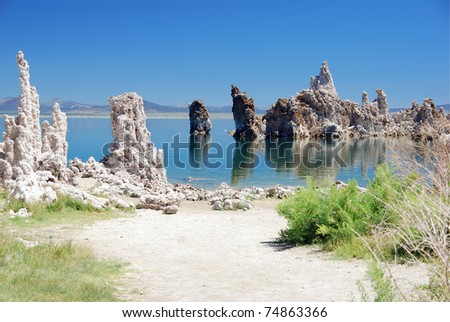 View of Mono lake on a sunny day - stock photo