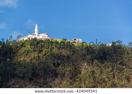 View of Monserrate church high up in the Andes Mountains overlooking Bogota, Colombia - stock photo