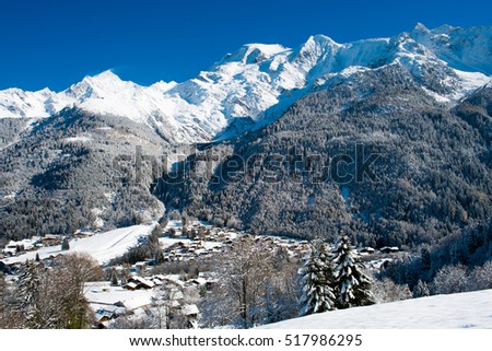 View of Mont Blanc and Les Contamines village in Winter, Chamonix, France