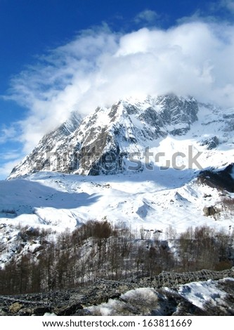 View of Mont Blanc from Italian side - stock photo