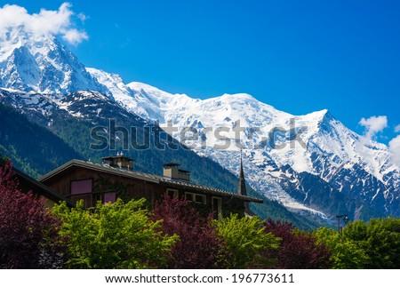 View of Mont Blanc Mountain Massif from Les Praz de Chamonix, France - stock photo