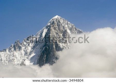 View of Mont Blanc mountain range from Parc de Merlet in Chamonix