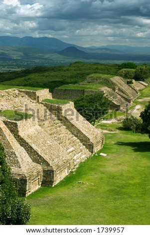 View of Monte Alban in Oaxaca, Mexico - stock photo