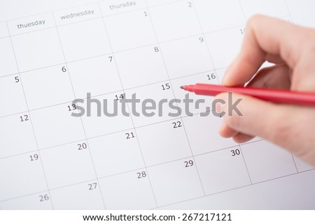 View of month planning in the calendar - stock photo