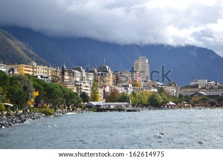 View of Montreux, Geneva lake, Switzerland. - stock photo
