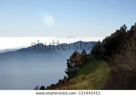 View of Montserrat mountain  from the top of Montseny mountain, Catalonia.