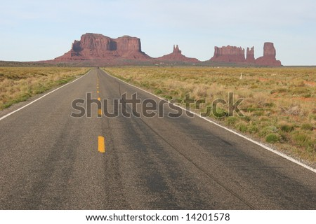 View of Monument Valley, view from highway. Arizona. USA - stock photo