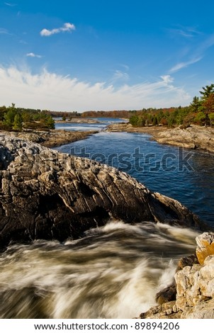 view of moon river from upper falls - stock photo