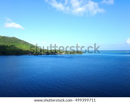 View of Moorea from the lagoon on a cruise ship, French Polynesia.