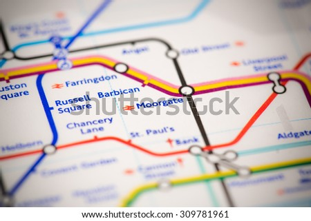 View of Moorgate station on a London subway map. - stock photo