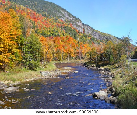 View of Moose River in the Adirondack Mountains of New York