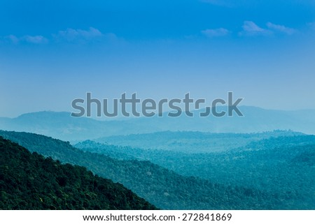 View of Morning Mist at Tropical Mountain Range, Kao Yai, Thailand - stock photo