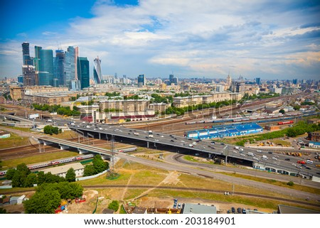 View of Moscow and a business center Moscow-City - stock photo