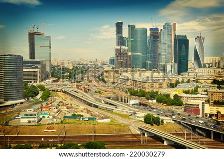 View of Moscow and a business center Moscow-City, highways. photo tinted in yellow - stock photo