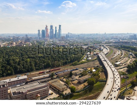 View of Moscow International Business Center and Third Ring Road, Moscow - stock photo
