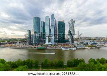 View of Moscow International Business Center in spring from the opposite side of Moskva River