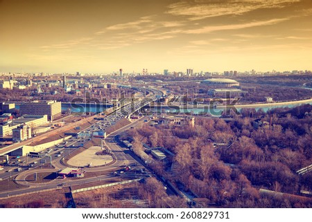 "View of Moscow: Third Ring Road, the river Moscow, sports complex ""Luzhniki"". - stock photo"