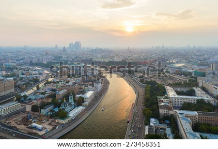 View of Moskva River during sunset, Moscow - stock photo