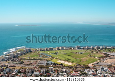 View of Mouille Point with the cape town Stadium from Signal Hill - stock photo