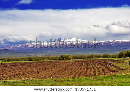 View of Mount Aragats, Armenia - stock photo