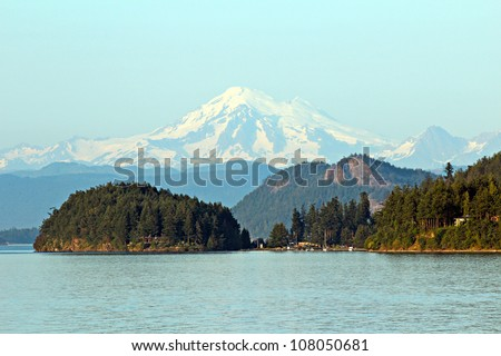 view of Mount Baker from the San Juan Islands - stock photo
