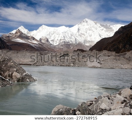 View of mount Cho Oyu and lake on Ngozumba glacier near Gokyo village  - Gokyo trek, trek to Cho Oyu base camp and three passes trek, Gokyo valley, Sagarmatha national park, Khumbu valley, Nepal