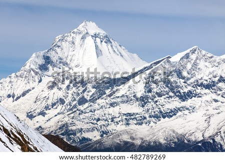 View of mount Dhaulagiri from Thorung La pass, round Annapurna circuit trekking trail, Nepal
