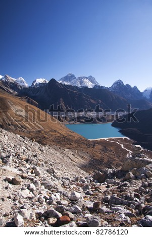 View of Mount Everest and Gokyo Lake from Renjo Pass - Everest region, Nepal - stock photo