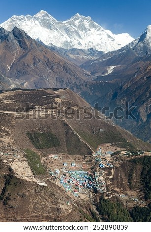 view of Mount Everest, Lhotse and Namche Bazar from Kongde - Sagarmatha national park - Nepal - stock photo