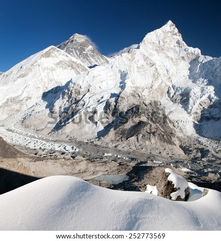 View of Mount Everest, Lhotse and Nuptse from Kala Patthar - way to Mount Everest base camp - Sagarmatha national park - Nepal  - stock photo