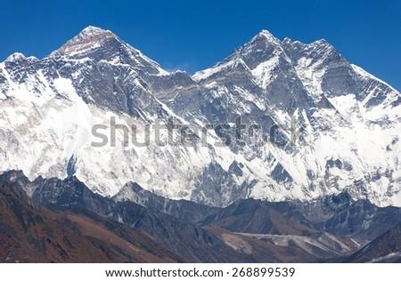 view of Mount Everest, Nuptse rock face, Lhotse and Lhotse Shar from Kongde - Sagarmatha national park - Nepal - stock photo