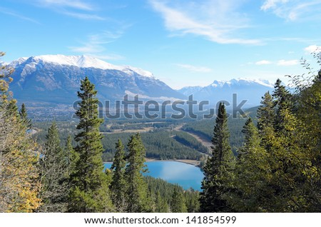 View of Mount Lady MacDonald and Grassi Lakes Alberta Canada  - stock photo