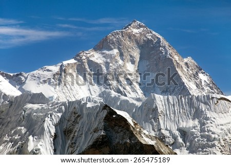 View of mount Makalu (8463 m) from Kongma La pass - Way to Everest base camp, three passes trek,  Everest area, Sagarmatha national park, Khumbu valley, Nepal - stock photo