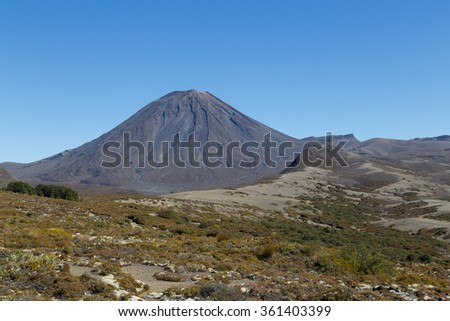 View of Mount Ngauruhoe - stock photo