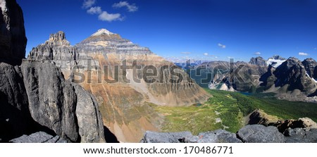 View of Mount Pinnacle, Temple Mountain, Paradise Valley, and Moraine Lake from Mount Eiffel Summit Lake Louise, Banff National Park, Alberta, Canada  - stock photo