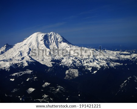 View of Mount Ranier Washington from the Air - stock photo