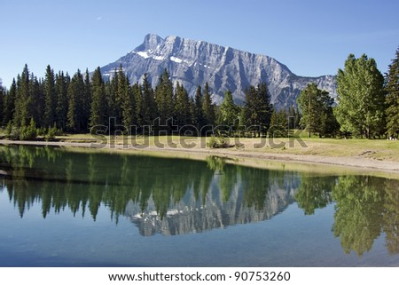 View of Mount Rundle from Cascade Ponds, Banff National Park, Alberta, Canada.