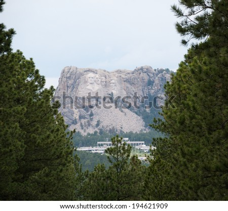 View of Mount Rushmore. - stock photo