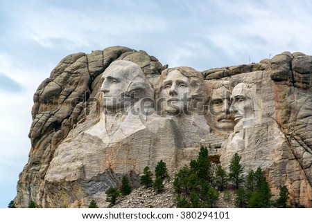 View of Mount Rushmore National Monument near Keystone, South Dakota - stock photo
