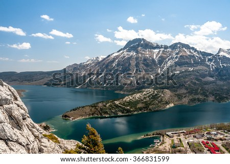 view of Mount Vimy, Waterton Lake and town-site from the Bear's Hump lookout, Waterton Lakes National Park, Alberta, Canada - stock photo
