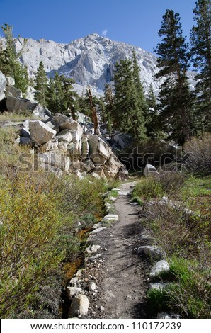 View of Mount Whitney trail on the way to the highest summit in California and contiguous USA - stock photo