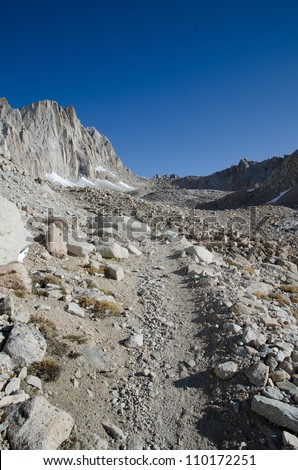 View of Mount Whitney trail on the way to the highest summit in California and contiguous USA