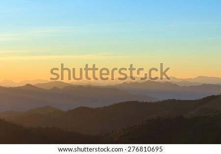 view of mountain before sunset - stock photo