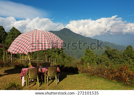 View of mountain Himalaya from a beautiful terase - stock photo