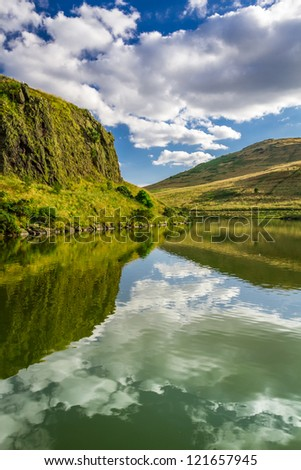 View of mountain lake in Scotland - stock photo