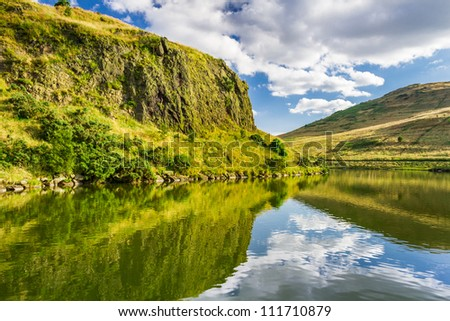 View of mountain lake in summer - stock photo