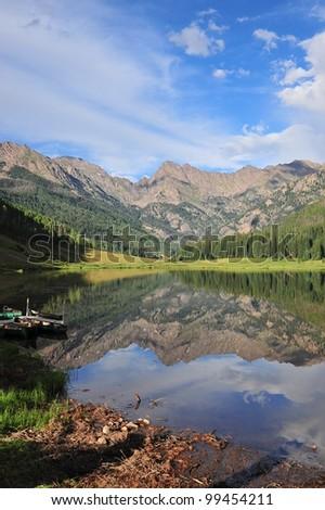 View of mountain lake /Piney Lake, Vail, Colorado - stock photo