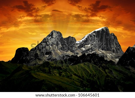 view of mountain Marmolada in the sunset - top of Dolomiti Italy - stock photo