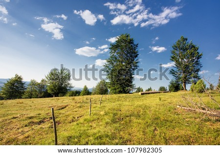 View of mountain peaks - stock photo