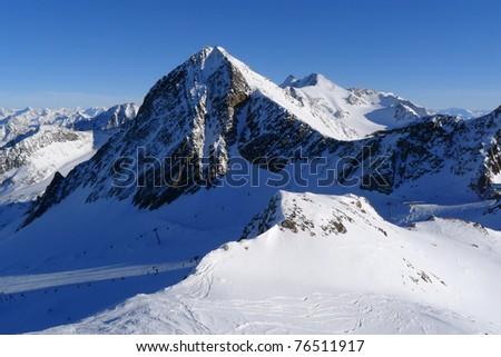 View of mountain range in Stubai ski resort in Austrian Alps - stock photo